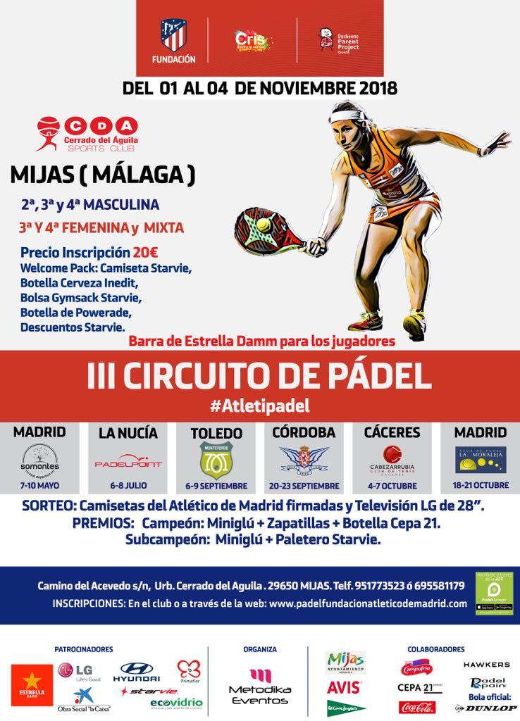 Torneo de padel Fundación Atlético de Madrid Cerrado del Águila. III Circuito de Pádel.