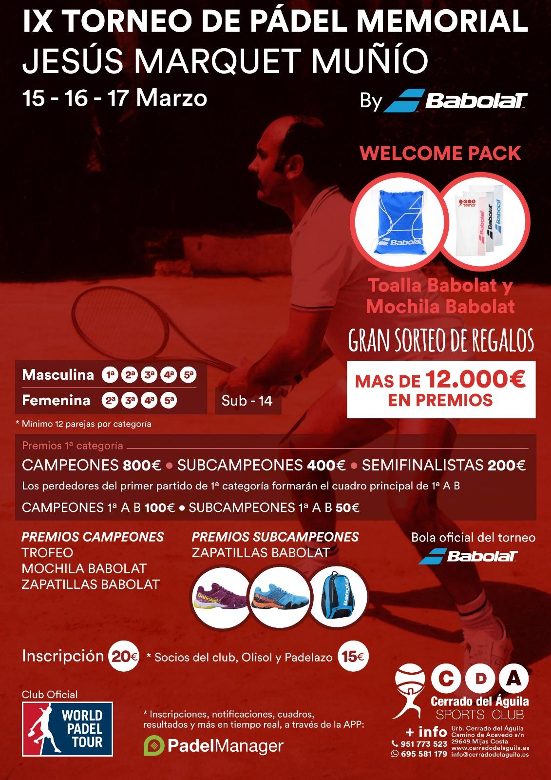 IX Torneo de Pádel Memorial Jesús Marquet Muñío