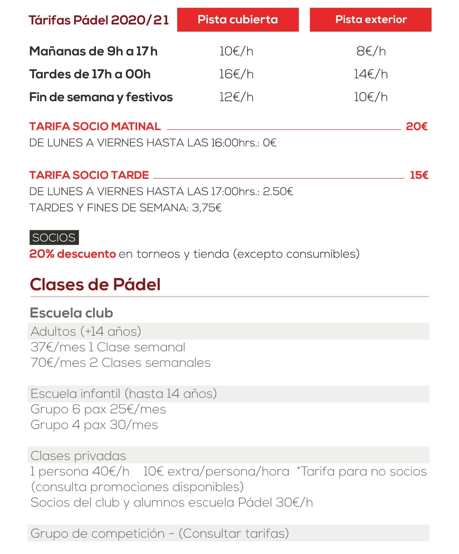 Tarifas Cerrado del Águila 2020-21
